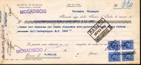 Check Italy Bank Mogadiscio Somalia 1940