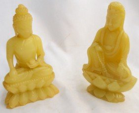 White Jade Pair Of Seated Buddha Figures