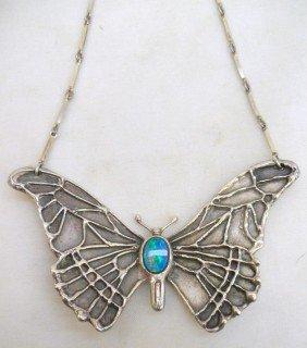 Silver & Opal Butterfly Pendant