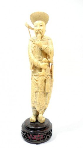 Chinese Ivory Carved Warrior Figurine