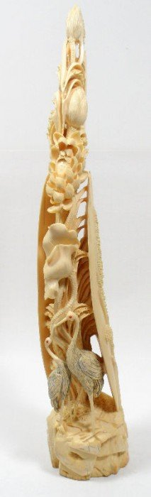Chinese Ivory Carving Of A Plant With Two Birds