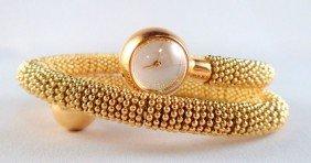 18K Yellow Gold Van Cleef & Arpel Watch Bangle