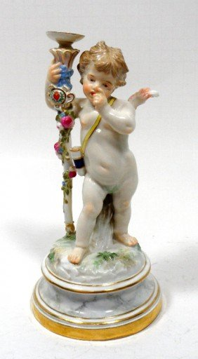 Meissen Porcelain Figure Of Cupid With Staff