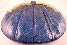 Judith Leiber Blue Snakeskin Evening Bag
