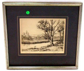 "Etching ""The Lazy Stream"""