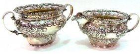 2pc Birk Sterling Silver Creamer & Sugar Bowls