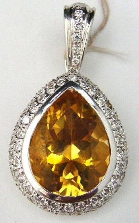 18kt WG Citrine & Diamond Tear Drop Pendant