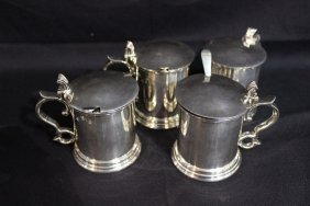 4 Pc. Irish Silver Plated & Cobalt Glass Covered Sugars