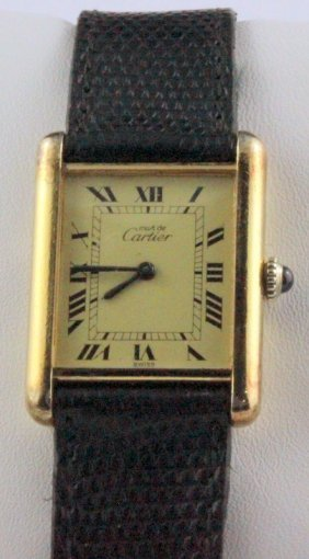 Cartier Silver Vermeil Tank 18kt Yg Wristwatch