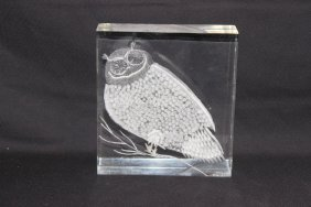 Contemporary Owl Lucite Paperweight