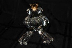 """Steuben """"frog Prince"""" 18kt Yg & Crystal Sculpture"""