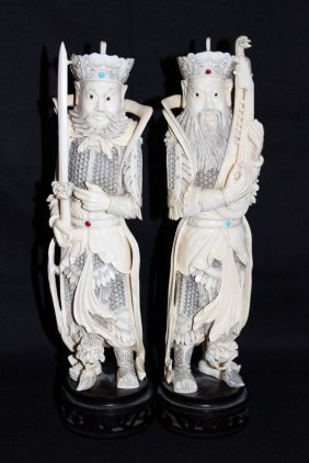 Two Chinese Carved Ivory Warriors