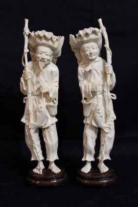 Pair Of Chinese Carved Ivory Fishermen