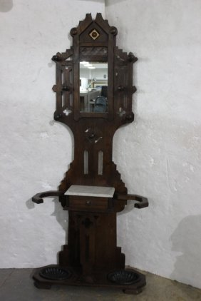 Antique Victorian Marble Top Hall Tree