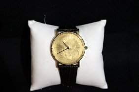 Corum 18kt Yg $20 Dollar Coin Leather Strap Watch