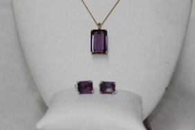 3 Pc. 14kt Yg & Amethyst Suite