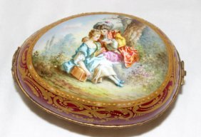 French Sevres Hand Painted Porcelain Box