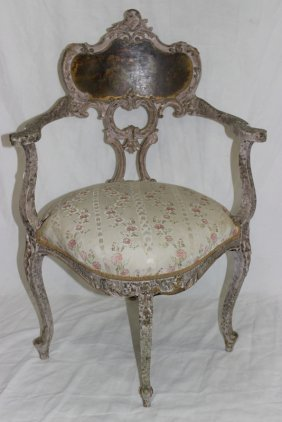 Louis Xv Style Vernis Martin Hand Carved Portrait Chair