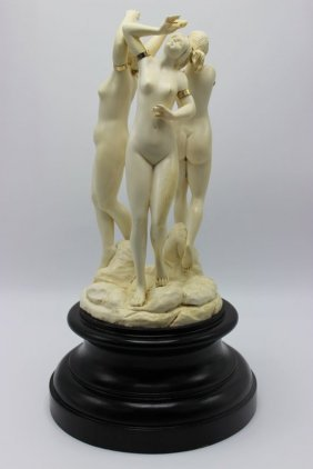 Rare Continental Carved Ivory Group