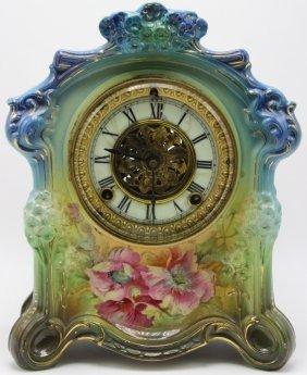 Royal Bonn Hand Painted Porcelain Mantel Clock