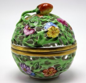 Herend Hand Painted Pierced Porcelain Covered Box