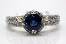 Platinum 1.05ct. Sapphire & 0.22ct. Diamond Ring