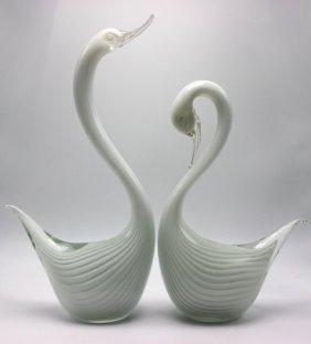 Two Murano Glass Swans