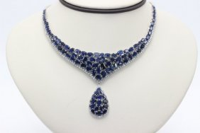 18kt Wg 43.98ct. Sapphire & 2.53ct. Diamond Necklace