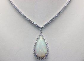 18kt Wg 13.75ct. Opal & 3.84ct. Diamond Necklace
