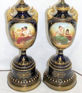 Pair Of Royal Vienna Hand Painted Porcelain Lamps