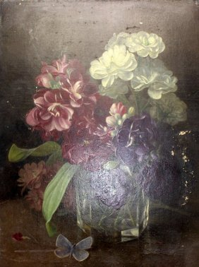 Antique Still Life Oil Painting On Panel