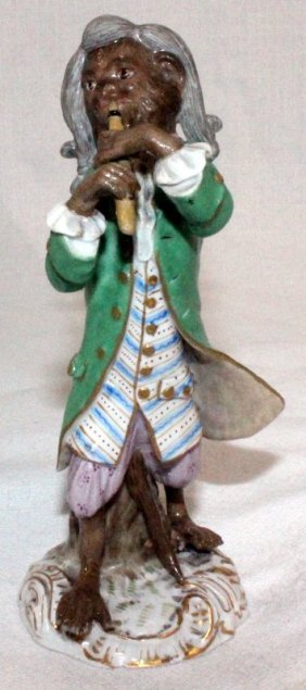 Meissen Hand Painted Porcelain Monkey Flute Player