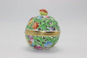 Herend Pierced Porcelain Covered Jar