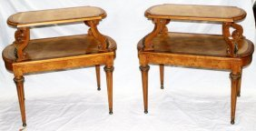 Pair Of Empire Style Bronze Mounted 2-tier Tables