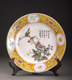 Birds And Flowers Porcelain Charger