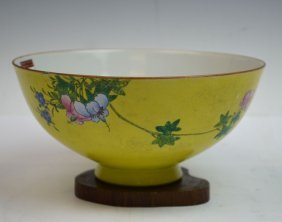 Chinese Yellow Ground Famille Rose Porcelain Bowl