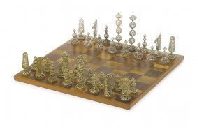 Silver, Silver-gilt And Turquoise Chess Set