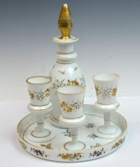 European Opaline Glass Liquor Set