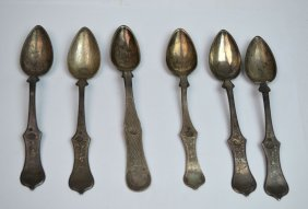 Six Ottoman Silver Spoon With Mark