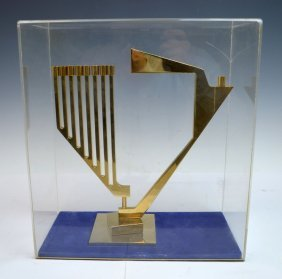Gilt Bronze Menorah With Modernist Design