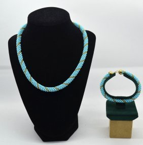 Turquoise Necklace & Bracelet With 18 K Gold Clasp