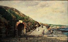 19thc. French School; Oil - Coastal Path