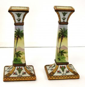 Pair Of Nippon Porcelain Candlesticks