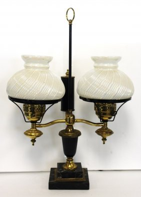Brass And Marble Double Student Lamp