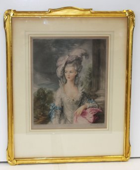 Ornately Framed French Mezzotint