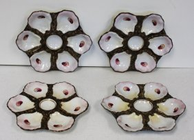 Set Of Four(4) Porcelain Oyster Plates