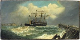 19thc. English School; Oil Seascape