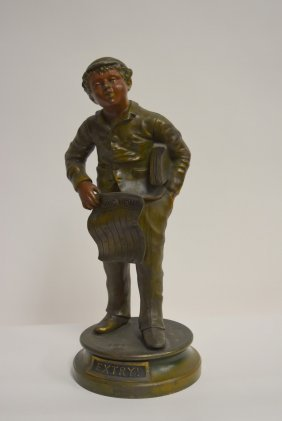 Victorian Bronzed Figure Of A Newsboy