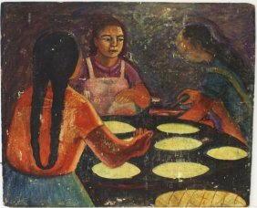 20thc. Mexican School; Oil Young Girls