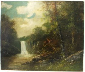 19thc. American School; Oil Landscape With Waterfall